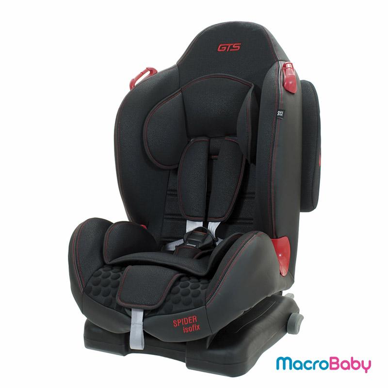 Butaca de seguridad con sistema Isofix Spider De 9 a 25 kg. negra con rojo GTS - MacroBaby