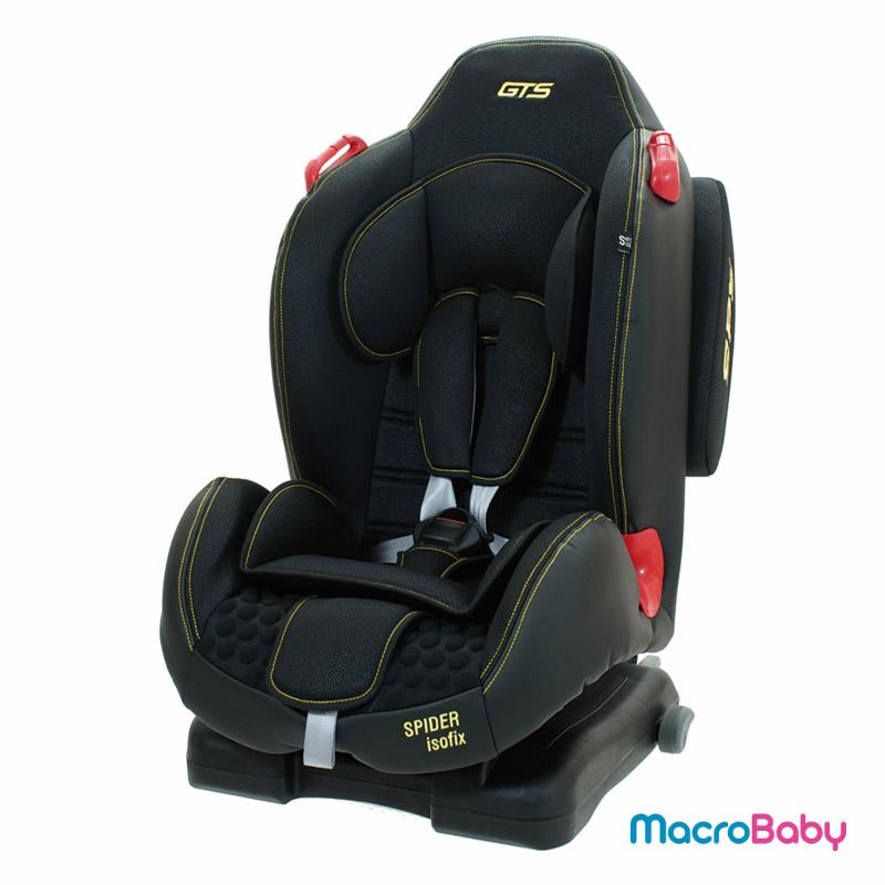 Butaca de seguridad con sistema Isofix Spider De 9 a 25 kg. negra con amarillo GTS - MacroBaby