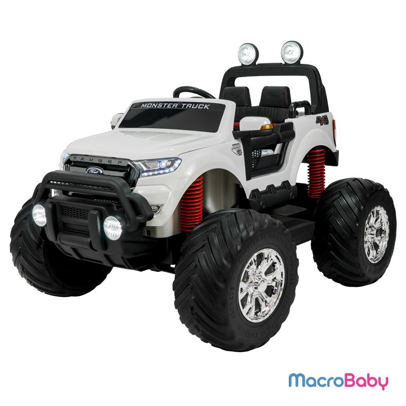 Auto a batería Ford Ranger Monster Truck Blanca 4 motores