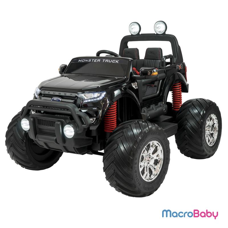 Auto a batería Ford Ranger Monster Truck Negra 4 motores